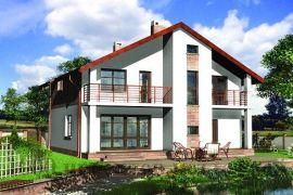 Проект двухэтажного дома из кирпича на 190 кв. м с прямоугольными эркерами