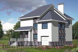 Трёхэтажный кирпичный дом с многоскатной крышей