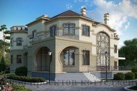 Двухэтажный кирпичный дом-дворец с панорамными витражами