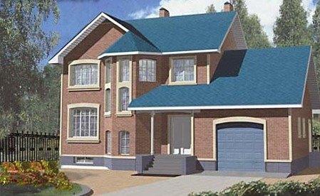 Двухэтажный загородный дом из газоблока