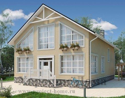 Дом из газобетона 9x12 180.7 кв.м. Дом из газобетона 8.95x15.2 180.3 кв.м